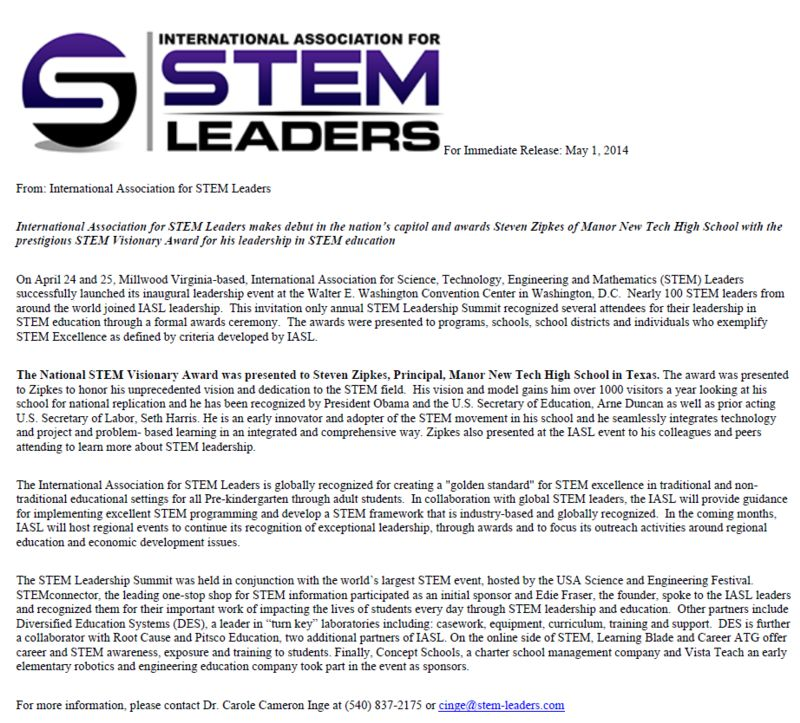 Stem Schools Uk: Manor Principal Receives National STEM Visionary Award